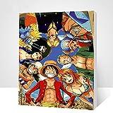 Xfwj Historieta del Animado Dibujado a Mano for Colorear Decoratio Mano óleo Digital de DIY Pintura Infantil Animado de Dibujos Animados de una Pieza/Roronoa Zoro/Monkey D. Luffy