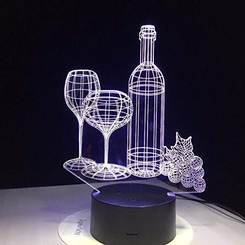 Lámpara LED de proyección de vino tinto 3D, diseño de para habitación de niños, decoración del hogar, regalos de cumpleaños con 7 colores cambiantes