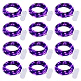 Halloween Fairy String Lights: 12 Pack 7Ft 20 Led Battery Operated Firefly Lights on Black Wire Starry Moon Lights for DIY Party Bedroom Patio (Purple)