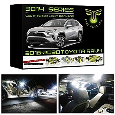 Fyre Flys 8 Piece White LED Interior Lights for 2016-2020 Toyota RAV4 Super Bright 6000K 3014 Series SMD Package Kit and Install Tool