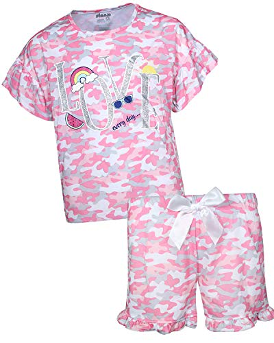 Sleep On It Girls Sleepwear Short Sleeve Tee and Shorts Pajama Set , Love/Pink Camo, Size 10/12'