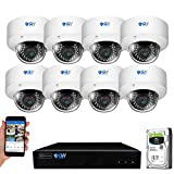 GW Security 8 Channel 4K NVR 5MP H.265 Video & Audio Security Camera System - 8 x Dome 5MP 1920P Weatherproof 2.8-12mm Varifocal Zoom IP PoE Cameras, Pre-Installed 4TB Hard Drive