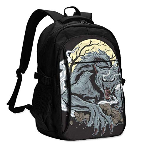 XCNGG Mochila USB con múltiples bolsillos, mochila informal, mochila escolar Laptop Backpacks Tactical Ware Wolf Dark Night Office & School Supplies with USB Data Cable and Music Jack Laptop Bags Comp