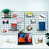 """Jen story Metal Wire Wall Grid Panels, 2Pack, 23.6""""x23.6"""", Multifunction Photo Hanging Display and DIY Decor Wall, Grid Photo Wall, Wall Storage Organizer, Square Black"""