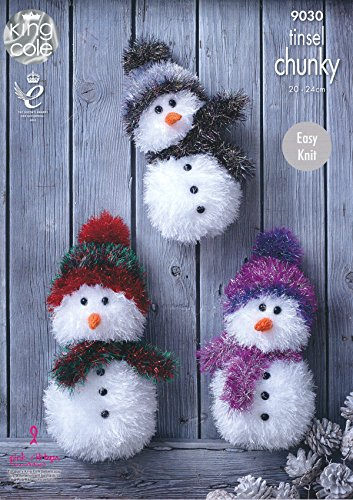 King Cole Tinsel Chunky Easy Knit Knitting Pattern for Snowman Christmas Toys 3 Sizes (9030)