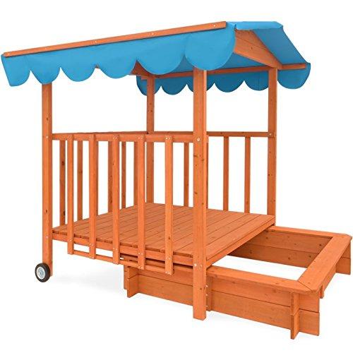 Bandeja de arena para niños con balcón con ruedas y cenador integrados: Amazon.es: Jardín