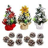 Xumier Miniárbol de Navidad de escritorio 20 cm Árbol de navidad artificial Decoraciones para fiestas de Navidad Pequeño árbol de navidad Adornos creativos navideños+10 conos de pino de cabeza blanca