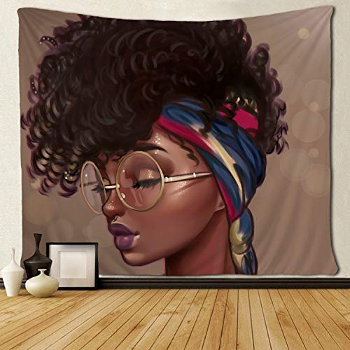 SARA NELL Afro Traditional Woman Scarf Tapestry African American Women Tapestries Wall Art Hippie Bedroom Living Room Dorm Wall Hanging Throw Bedspread 50x60 Inches