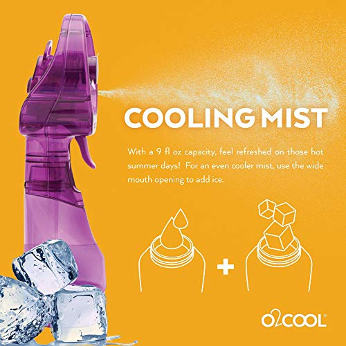 O2COOL Deluxe Misting Fan, Handheld Misting Fan, Battery Operated Fan, Water Spray Fan, Mini Portable Desk Fan, Personal Cooling Fan for Outdoor, Fine Mist Sprayer, Purple