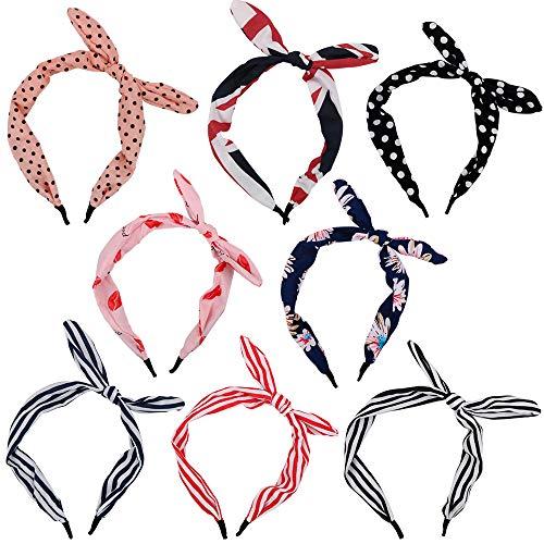 FLOFIA 8 Stk Haarreif Damen Vintage Haarreifen mit Schleife Retro Haarreifen Bowknot Headband Stirnband Haarband Kopfschmuck für Mädchen