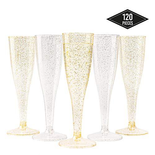 120 Elegante Einweg Sektgläser aus Kunststoff, Gold & Silber Glitter (150ml) - Stabile & Wiederverwendbar| Plastik Champagnergläser Sektkelche für Partys Geburtstage Hochzeiten Weihnachten.