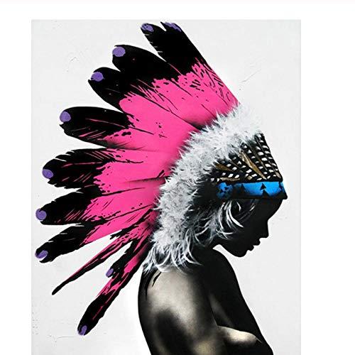 Terilizi muurkunst canvas schilderij abstracte Indiaanse affiches en prints schilderij voor woonkamer decoratie 50 x 70 cm geen lijst