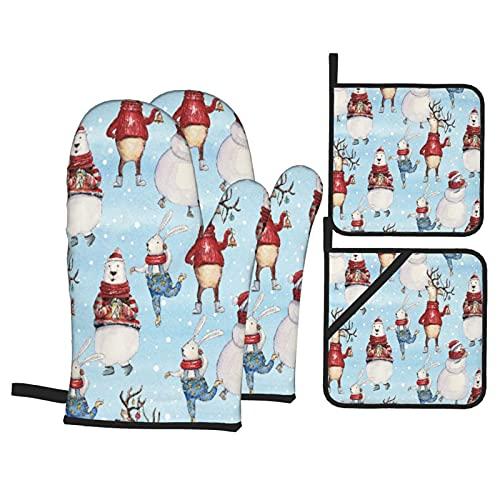 Oso de Conejito de Navidad acuarelaCiervos y muñeco de Nieve en Azul,Juegos de Manoplas para Horno y Porta Ollas,4Pcs Impermeable Guantes Almohadillas para Cocina Cocinar Hornear Barbacoa