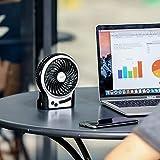 EasyAcc Mini Desktop USB Ventilator Personal Fan mit 2600 mAh aufladbarer Batterie Akku LED-Licht Beweglicher 3 einstellbare Geschwindigkeiten für Indoor und Outdoor Aktivitäten - Schwarz