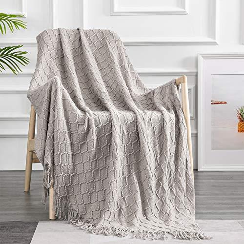 Topfinel Manta de Punto para Sofá o Cama Algodón Diseño Nórdico Cálida Suave con Flecos para Siesta Silla Playa Cubrecama Sobrecama Niño 150x200cm Caqui