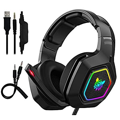 RGB Gaming Headset - Maxesla Gaming Headphone PC USB 3.5mm PS4/Xbox/PC Headsets with 50MM Driver, Surround Sound & HD Microphone, Noise Cancellation Over Ear Compatible with Nintendo Laptop Mac from Maxesla