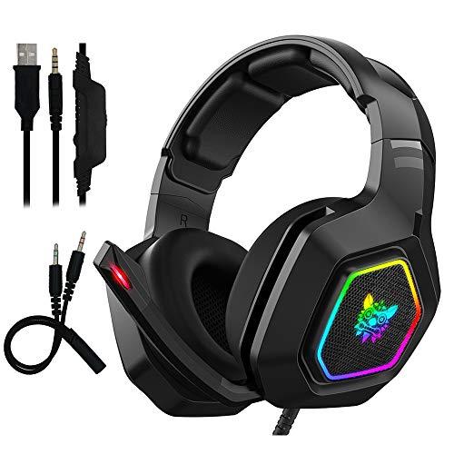 Auriculares Gaming con Microfono - FAGORY Cascos Gaming con Sonido Envolvente, Reducción de Ruido y Ajustable, Luz LED y Control Volumen, para PS4 / Xbox One X / Nintendo Switch / PC / Laptop / Tablet