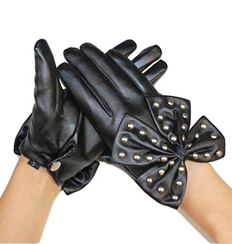 Meilleures hiver de vendre des femmes gants chauds en cuir noir-12