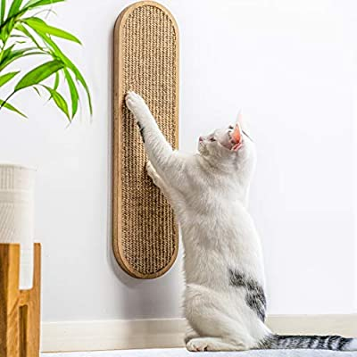 7 Ruby Road Cat Scratching Post for Floor or Wall Mounted Use - Space-Saving, Durable Sisal Board Scratcher for Kitty's Health and Good Behavior, Accessories for Cats - Natural Sisal