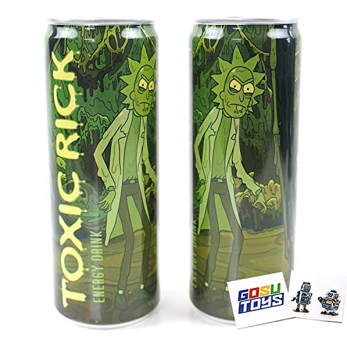 Rick and Morty Toxic Rick Energy Drink (2 Pack) with 2 Gosu Toys Stickers