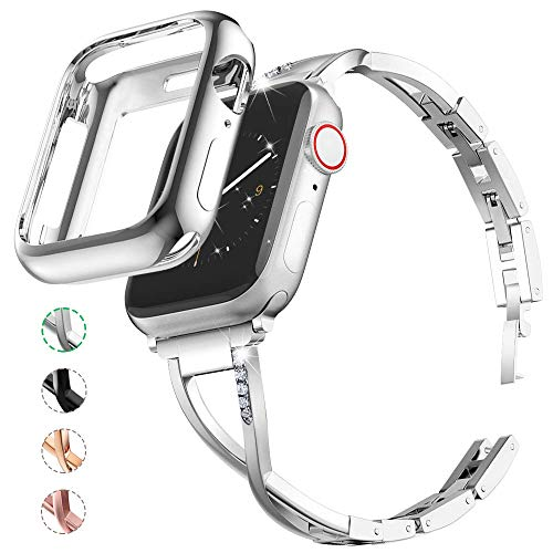 Marge Plus Compatible with Apple Watch Band 42mm 44mm with Case, Women Bling Wristband for iWatch Series 5 4 3 2 1 Metal Stylish Strap, Silver