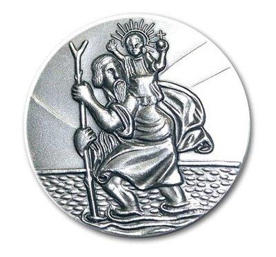 Autoplakette Hl. St. Christophorus 3 cm, 999-feinversilbert, gesegnet und geweiht