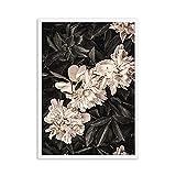 Póster de lienzo de arte de pared nórdico de rosas rosadas negras e impresión de flores cuadro de pintura en lienzo para la decoración del hogar de la sala de estar 50x70cm sin marco