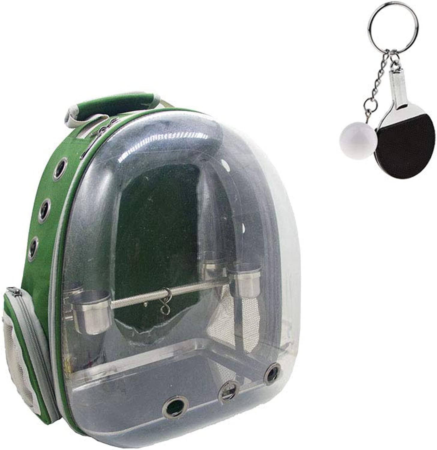 B Blesiya Clear Cover Travel Pet Bird Parred Cage Carrier Green with 1 Set Perch Cup & Keychain