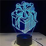 (Solo 1) caja de regalo de vacaciones luz de noche LED ilusión 3D sensor táctil decoración del hogar niños bebé luz de noche caja de regalo lámpara de mesa