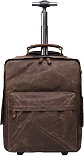 OaLt-t Backpack Male Waterproof Outdoor Trolley Retro Style Travel Multi-Function Luggage Backpack Student Kid Trolley Bag (Color : Brown)