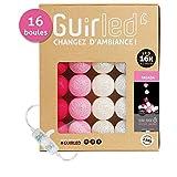 Guirlande lumineuse boules coton LED USB - Veilleuse bébé 2h - Adaptateur secteur double USB 2A inclus - 3 intensités - 16 boules 3.2m - Tagada