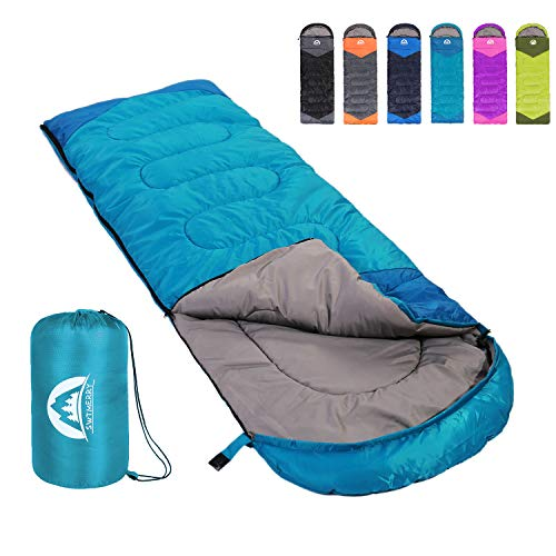 SWTMERRY Sleeping Bag 3 Season Warm & Cool Weather - Summer, Spring, Fall, Lightweight,Waterproof Indoor & Outdoor Use for Kids, Teens & Adults for Hiking,Backpacking and Camping (Sky Blue, Single)