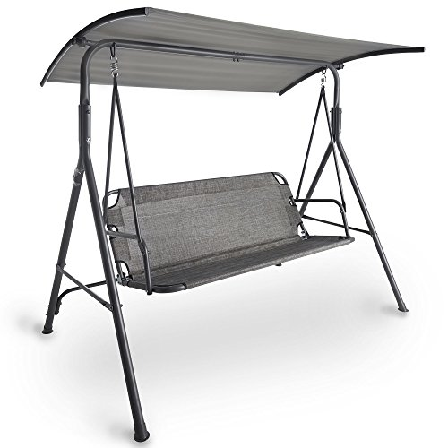 VonHaus Swing Seat With Canopy – Made from Easy-clean Textoline in a Modern Design and Strong Powder Coated Steel Frame