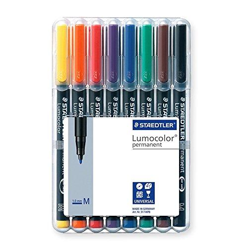 Folienstift Lumocolor M permanent, 8er Box, grün, rot, blau, schwarz, orange, braun, gelb, violett