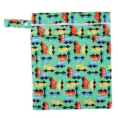 DAUERHAFT Bolsa de Almacenamiento de pañales portátil para bebés con Cuerda para Colgar, Bolsa de pañales, para niñas y niños para Viajes, Uso Diario, estacionamiento(Green Car)