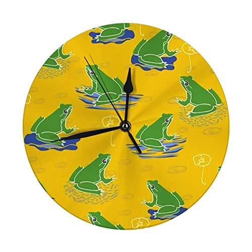 FETEAM Reloj de Pared Redondo Decorativo Moderno Rana Verde en Lirio en Verano Amarillo repetición Encantador con Pilas 9.8IN