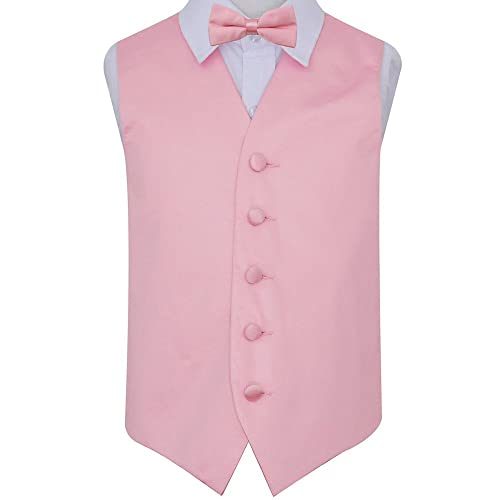 cd486ade7d0c DQT Boys Plain Satin Wedding Tuxedo Waistcoat and Bow Tie