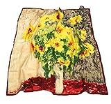 prettystern - 90cm Cuadrado 100% Crepe Satin Silk Scarf Ladies Colorful Claude Monet - Girasoles P51...