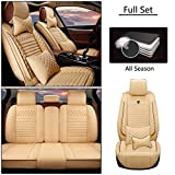 Juegos de Funda de Asiento Universales para V olkswagen Touareg Touareg 2 Touareg Hybrid Lujo Juegos de Cubreasientos Compatible con 95% de Automóviles y Airbag Beige