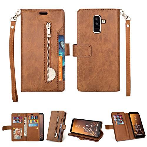 Artfeel Hülle für Samsung Galaxy A6 Plus 2018 Flip Brieftasche Hülle Braun mit 9 Kartenfächer,Premium Leder Magnetisch Stand Handyhülle mit Reißverschluss Tasche und Handschlaufe Schutzhülle