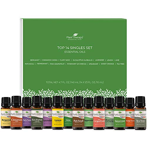 Plant Therapy Top 14 Singles Set | Lavender, Eucalyptus, Peppermint, Orange Sweet, Lemon & More | 100% Pure, Undiluted, Natural Aromatherapy, Therapeutic Grade | 10 mL (1/3 oz)