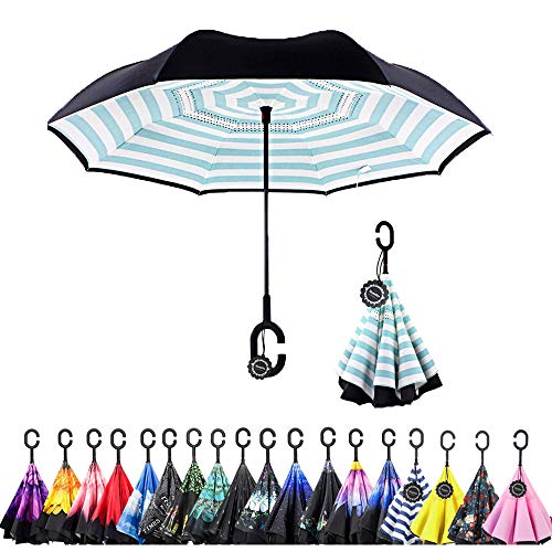 Monstleo Inverted Umbrella,Double Layer Reverse Umbrella for Car and Outdoor Use by, Windproof UV Protection Big Straight Umbrella with C-Shaped Handle and Carrying Bag (Stripe)
