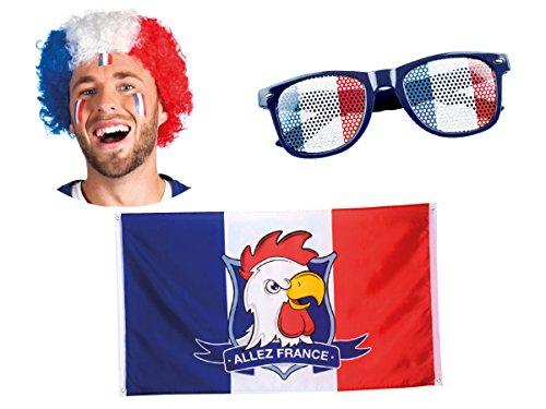 Alsino 3-teiliges Frankreich Fanset FP-55 Fußball Fanartikel Public Viewing