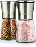 Elegant Salt and Pepper Grinder Set with Matching Stand - Stunning Glass Body with Adjustable Ceramic Grinder - Premium Pair of Salt & Peppercorn Mills - Brushed Stainless Steel Salt and Pepper Shakers - Set of 2 -