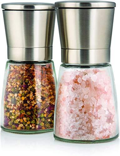 Set de deux élégants moulins à sel et poivre avec support - Taille de grain réglable - Obtenez du sel, du poivre ou d'autres épices fraîchement moulues grâce à ce set salière / poivrière e