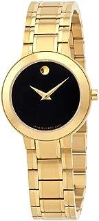 Movado Stiri Quartz Black Dial Yellow Gold PVD Ladies Watch 0607282