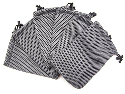 ALL in ONE 6pcs Grey Nylon Mesh Drawstring Bag Pouches for Mini Stuff Cellphone Mp3 10x15cm (4x6 Inch)