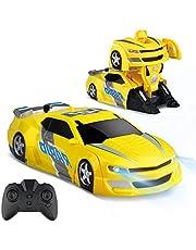 Baztoy Op afstand bestuurde auto transformeren robot kinderspeelgoed RC Car jongen meisjes dubbele modi 360 ° rotatie stunt auto klimwand functie afstandsbediening voertuigen spellen indoor geschenken