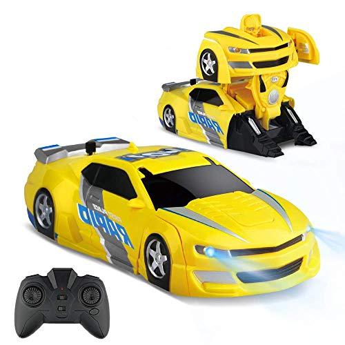 Baztoy Coche teledirigido Transforma robot juguete infantil RC coche niño niña doble modo de rotación 360 ° Stunt Auto Escalada función mando a distancia vehículos juegos interiores regalos
