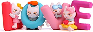 Beauy Girl 4 Pcs Lovely Cat Animal Characters Toys Figurines Playset, Plant Pot Craft Dollhouse Decoration, Cake Topper, C...